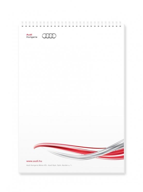 Audi jegyzettömb tervezés