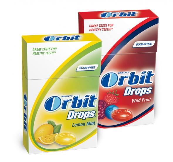 Orbit Drops Lemon Mint és Wild Fruit packshot